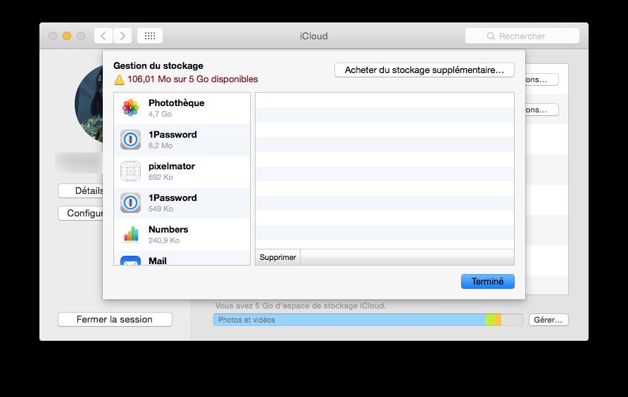 icloud stockage mac