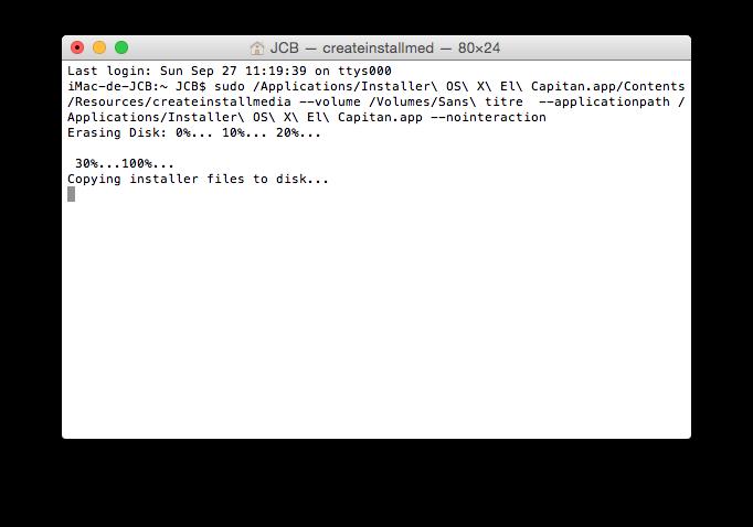 installation propre mac os x el capitan terminal formatage
