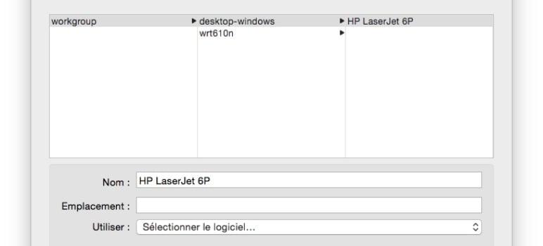 installer une imprimante sur mac selectionner le logiciel