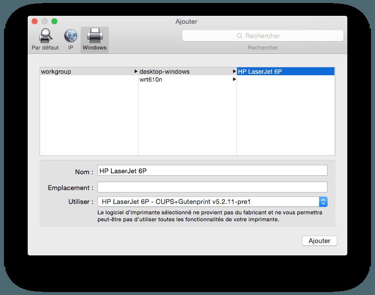 installer une imprimante sur mac standard