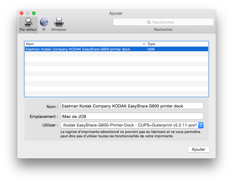 installer une imprimante sur mac usb