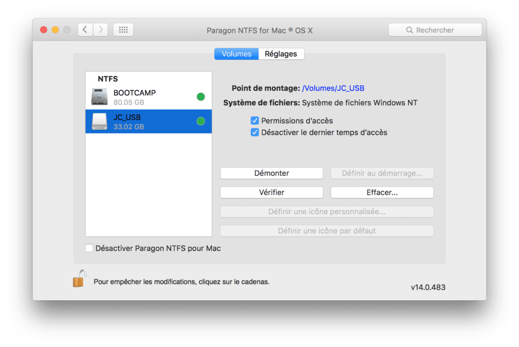 Formater en NTFS sur Mac monter volume