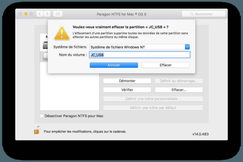 Formater en NTFS sur Mac window s nt