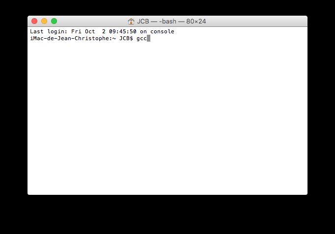 installer xcode el capitan gcc
