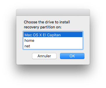 Reparer la partition Recovery Mac choisir disque os x