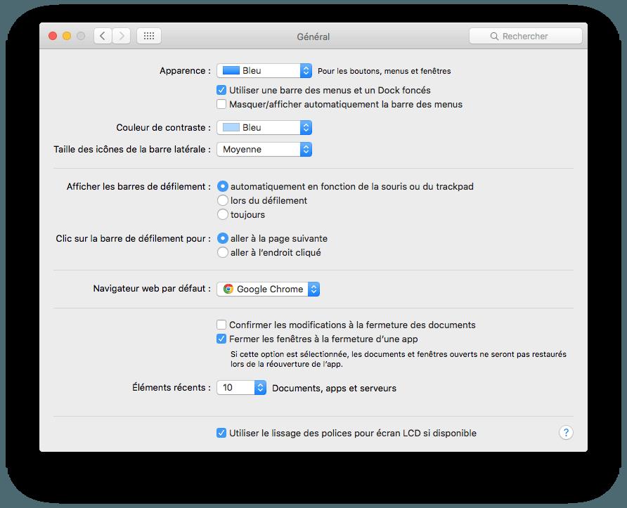 dark mode mac activer