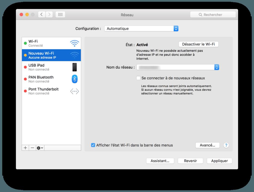reparer wifi mac os x-creer nouveau wifi inactif