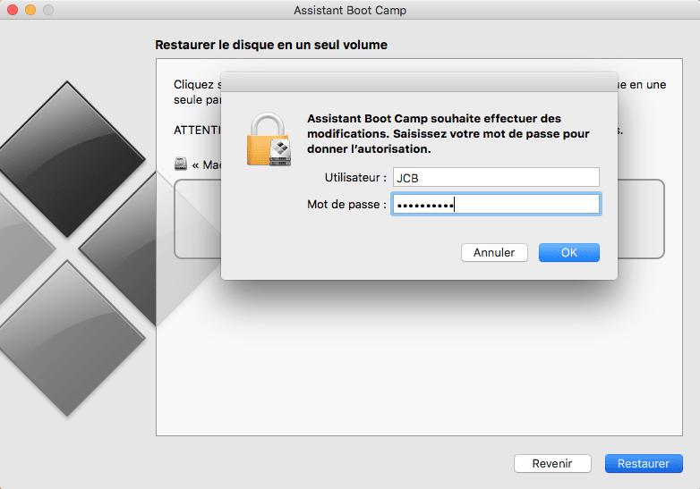 supprimer bootcamp mot de passe admin