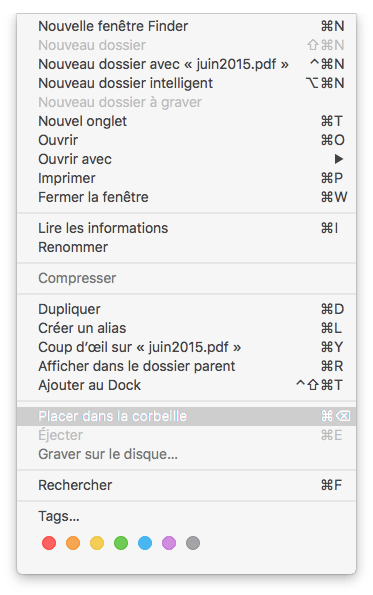 supprimer un fichier sur Mac via le finder