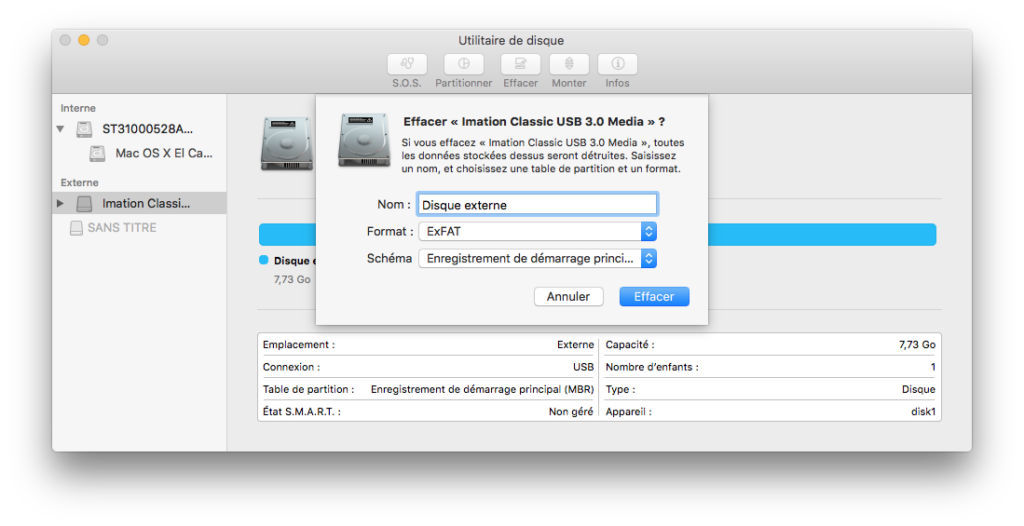 Formater un disque externe Mac exfat