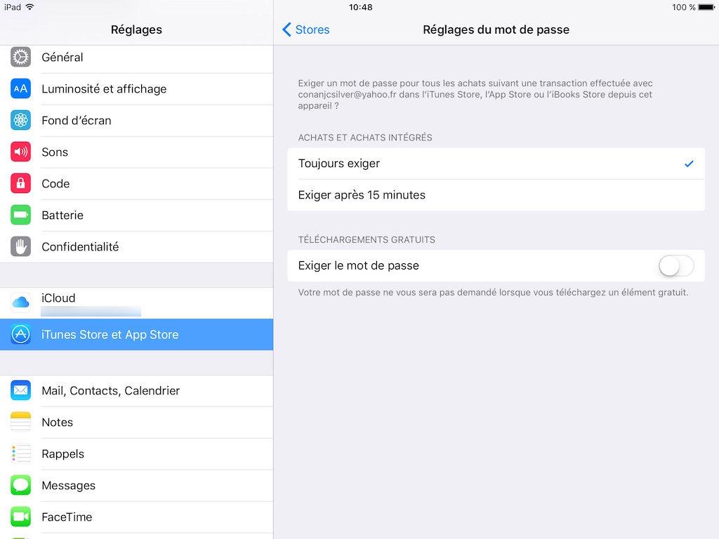 App Store sans mot de passe iphone ipad