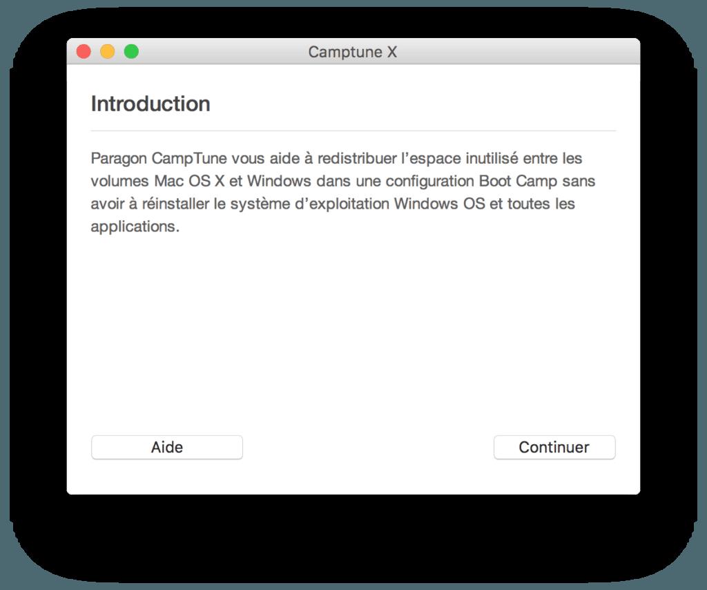 Redimensionner une partition sur Mac avec camptune x