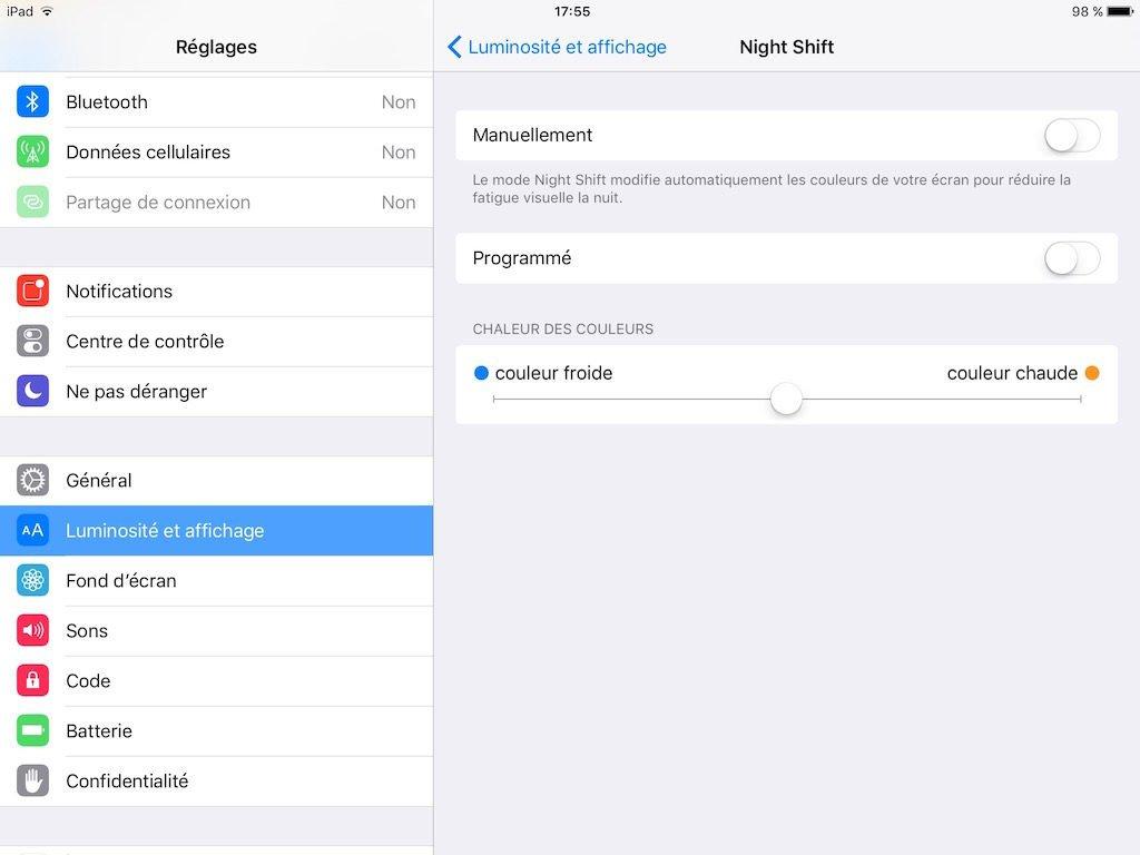 ActiverNight Shift manuellement ou automatiquement