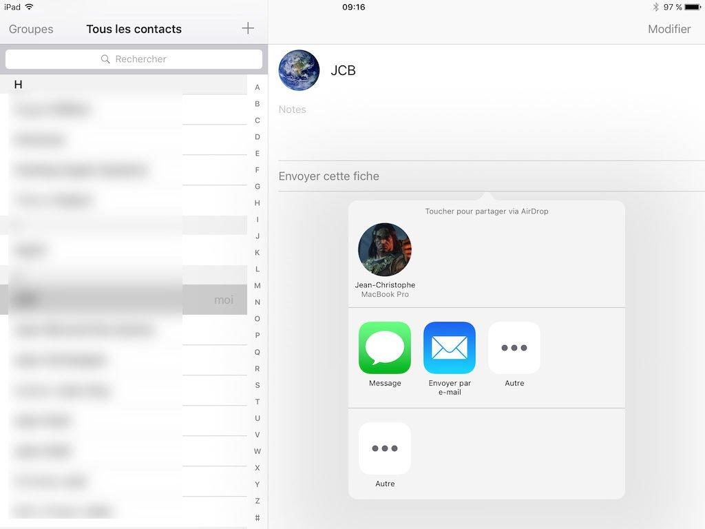 airdrop mac ipad contact