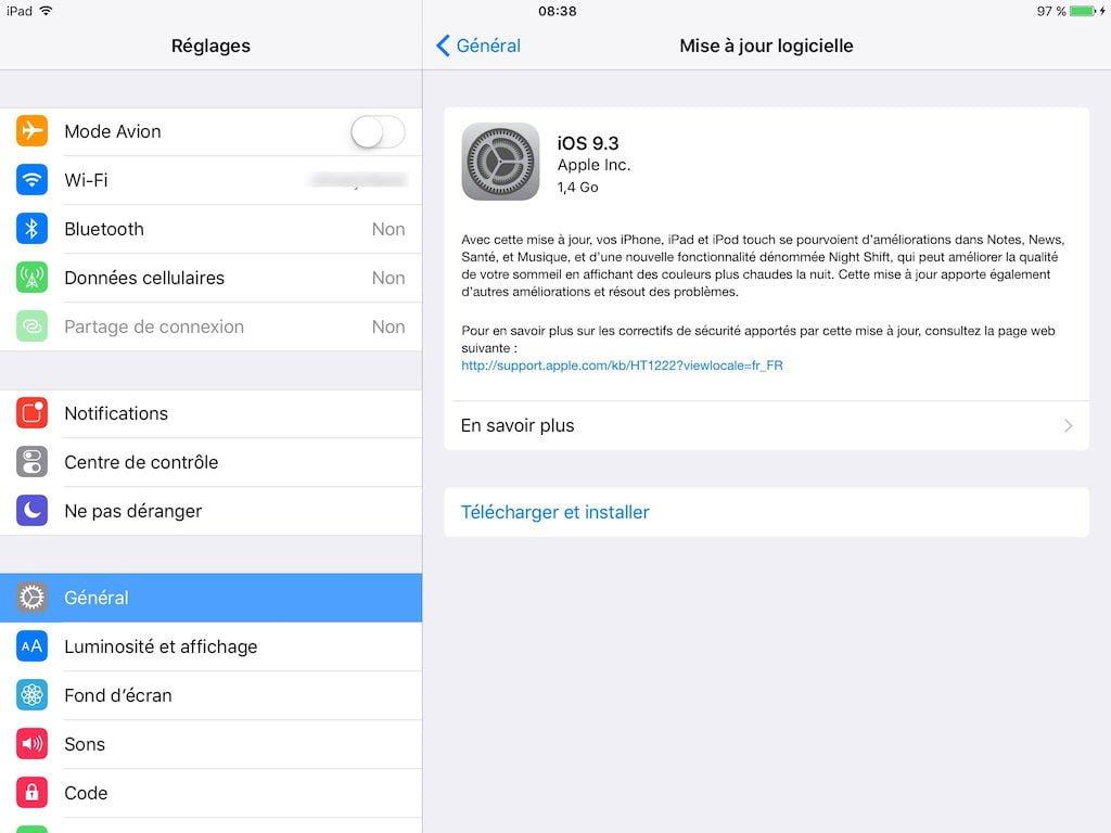 iOS 9.3 mise a jour logicielle