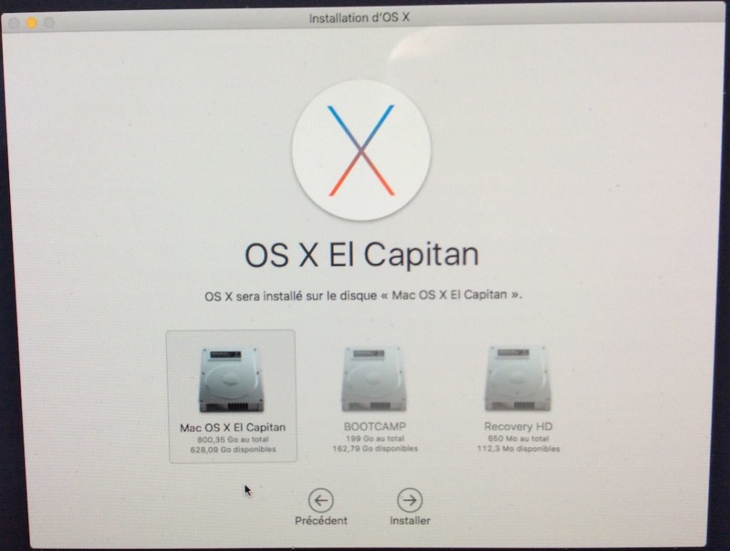 reinstaller mac os x sur disque principal