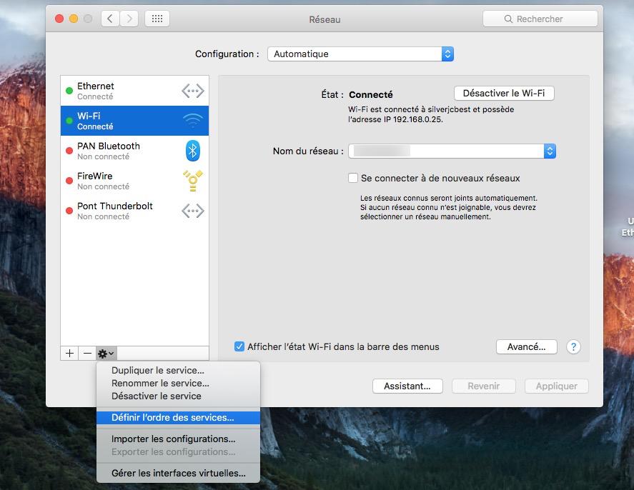 Utiliser WiFi et Ethernet sur Mac os x definir ordre des services