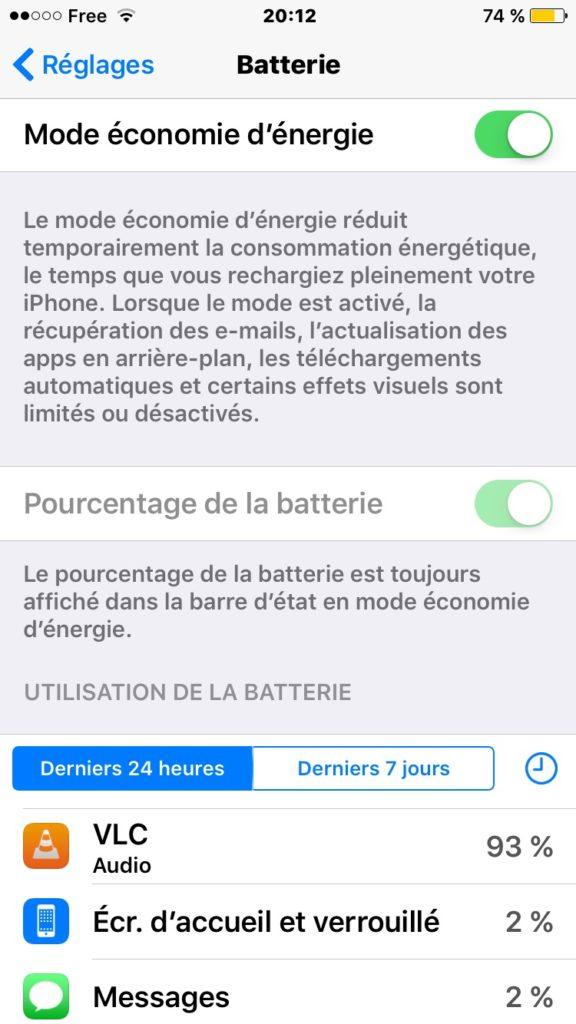 activer le mode économie d'énergie iPhone batterie en jaune