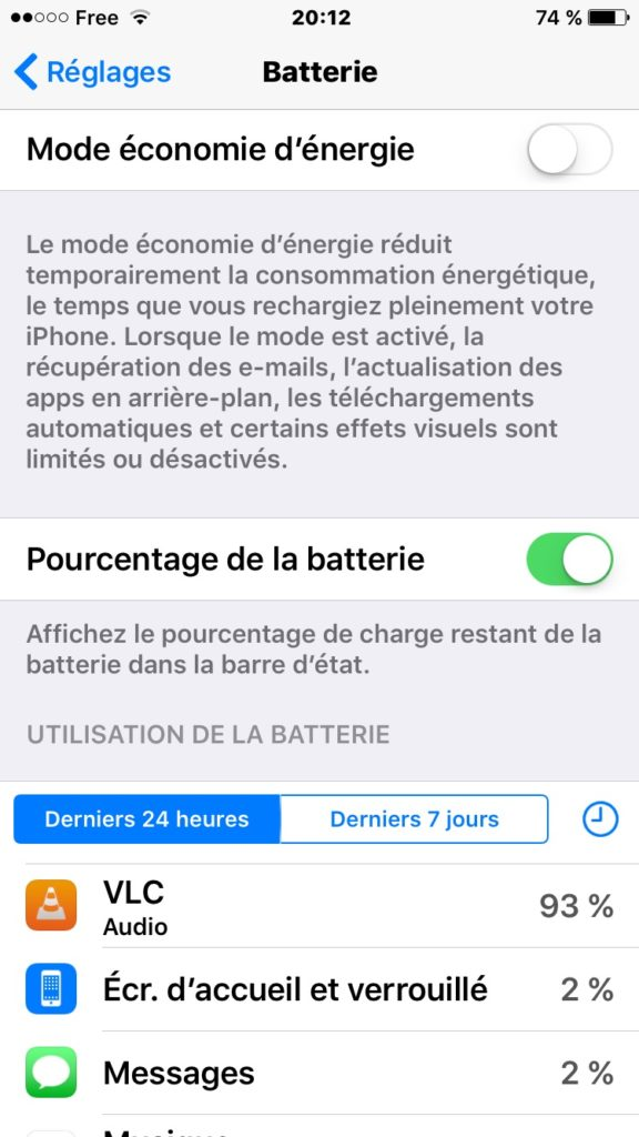 activer le mode economie d'energie iPhone ios9