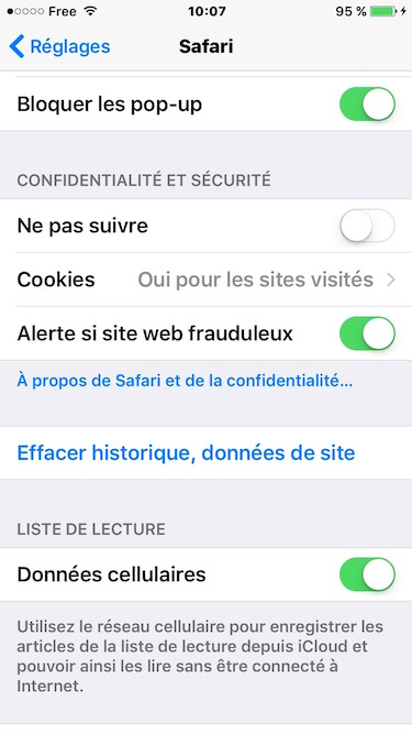 ios 9.3 problemes safari