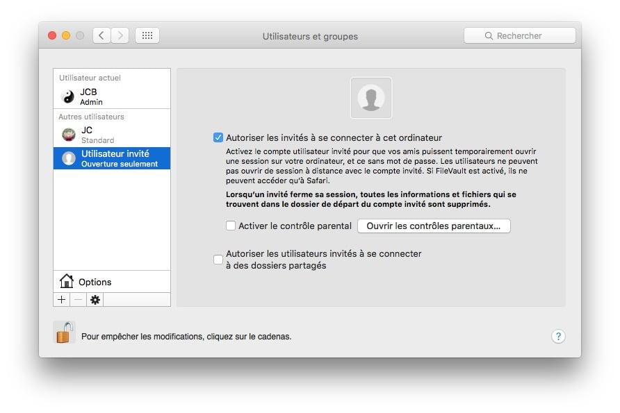 proteger son mac safari utilisateur invite necessaire