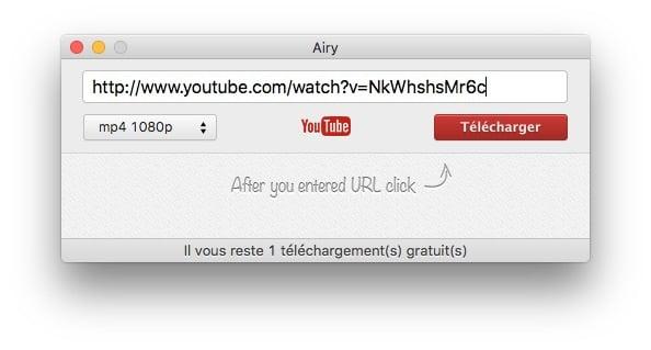1. Airy téléchargeur YouTube pour Mac