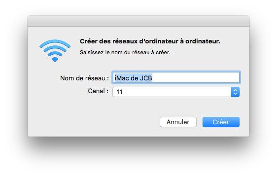 Creer un reseau WiFi sur Mac nom canal