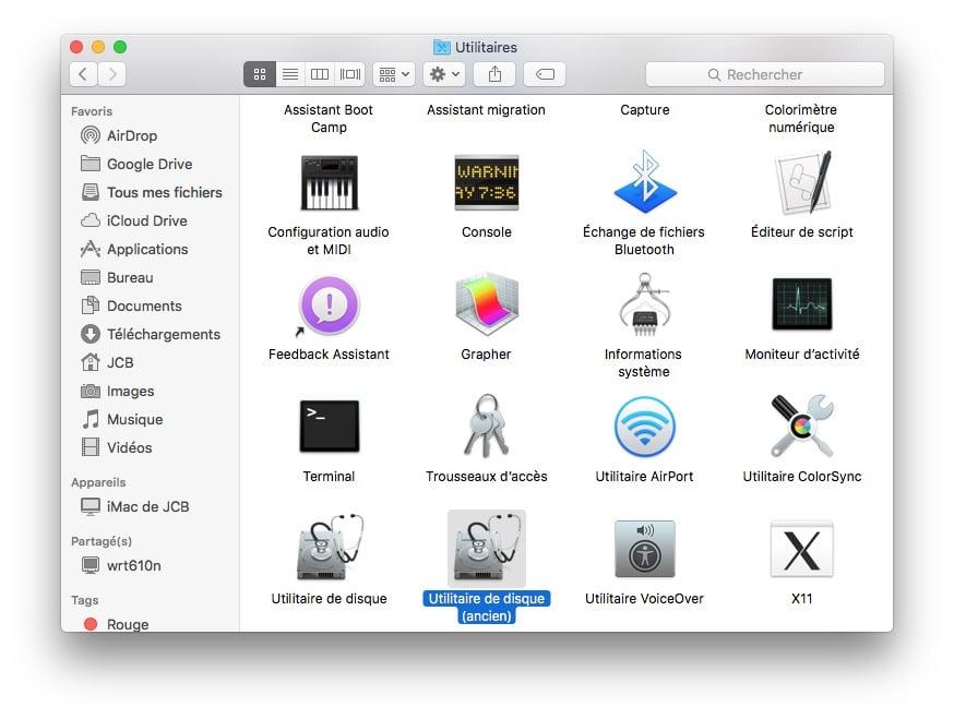 ancien utilitaire de disque mac applications utilitaires