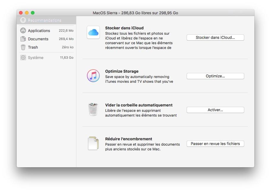 Outil de nettoyage MacOS Sierra recommandations