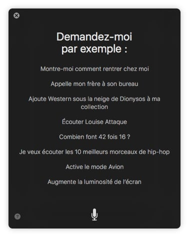 Siri MacOS Sierra exemple