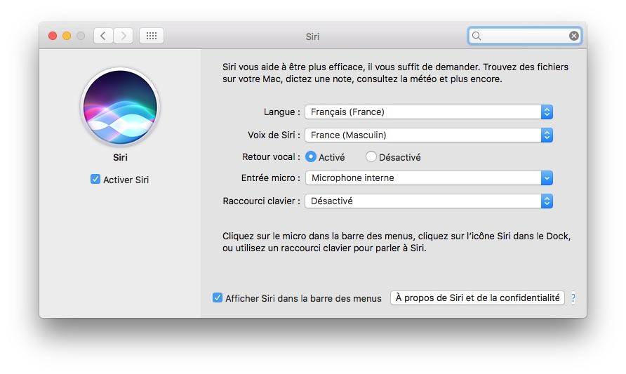 Siri MacOS Sierra reglages