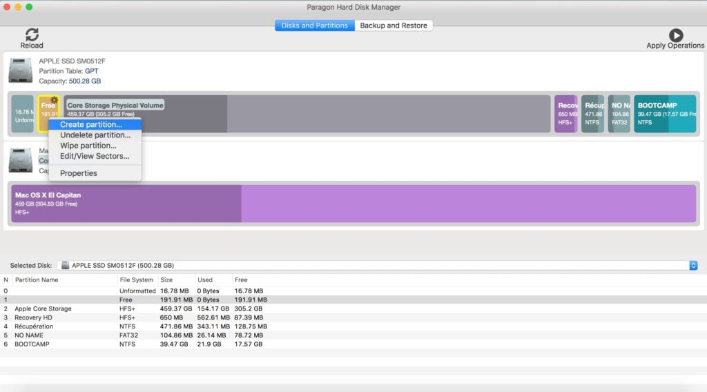 gerer les partitions sur mac creer une partition