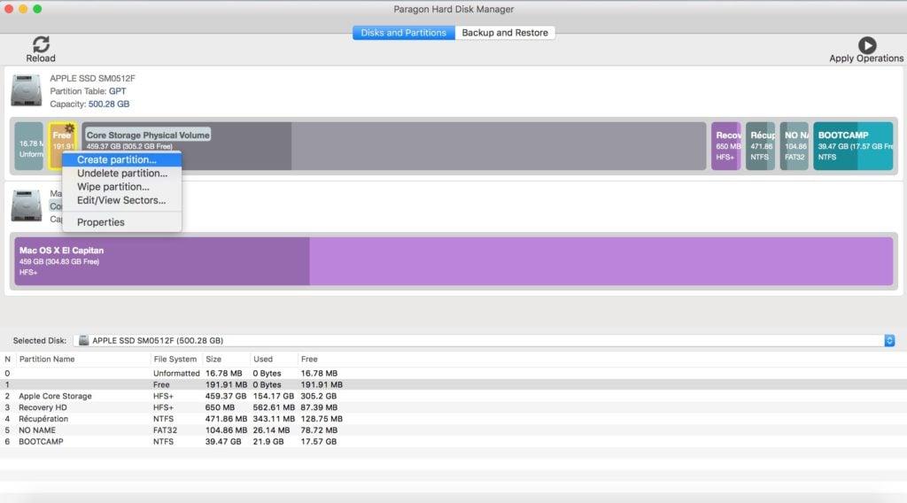 gerer les partitions sur mac creer une partition