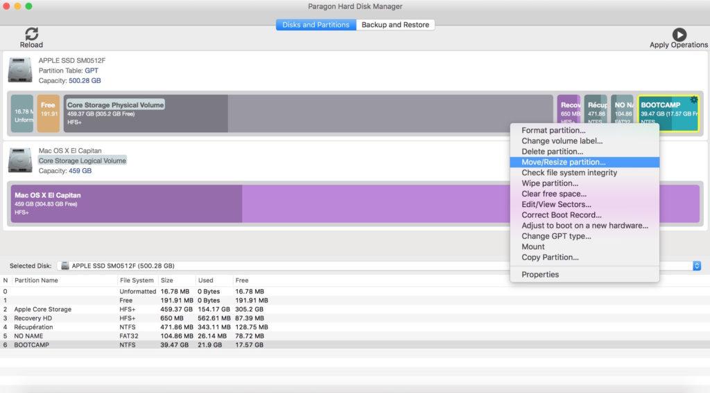 gerer les partitions sur mac redimensionner