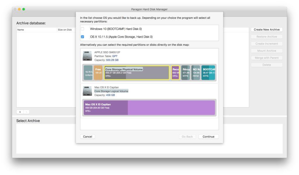 gerer les partitions sur mac sauvegarde