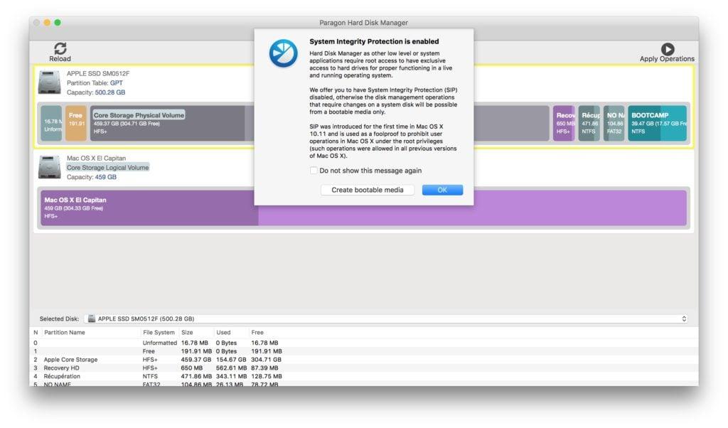 gerer les partitions sur mac sip desactivation