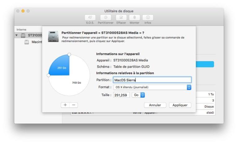 installer macos sierra sur partition mode emploi