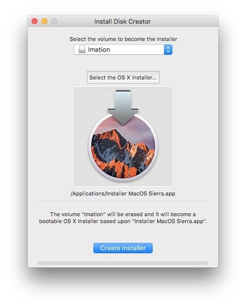 macos sierra install disk creator