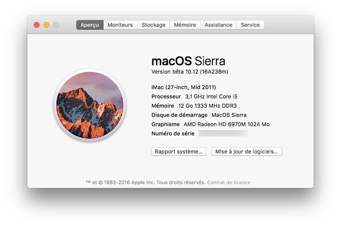 MacOS Sierra beta publique information version