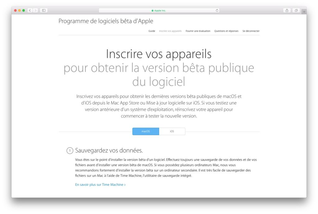 MacOS Sierra beta publique inscription