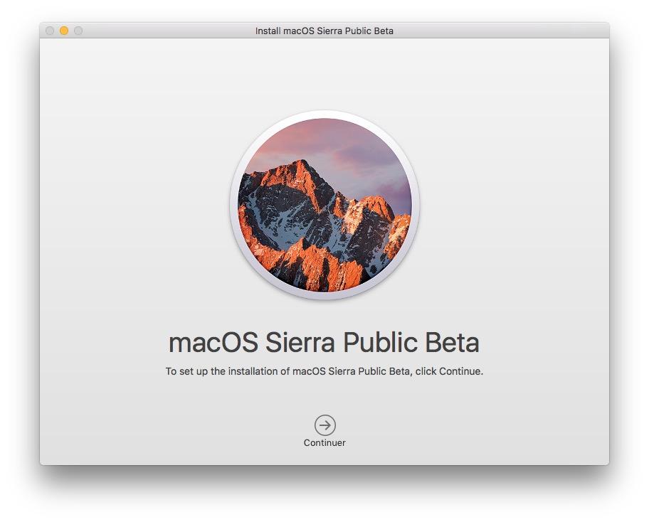 MacOS Sierra beta publique installateur