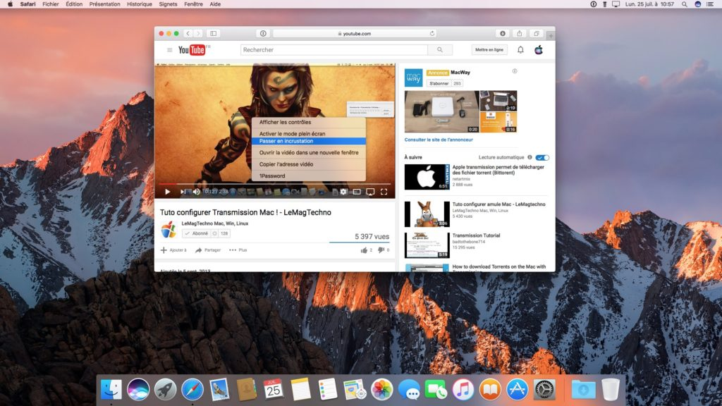 Picture in Picture macOS Sierra passer en incrustation