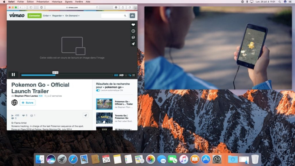 Picture in Picture macOS Sierra vimeo icone