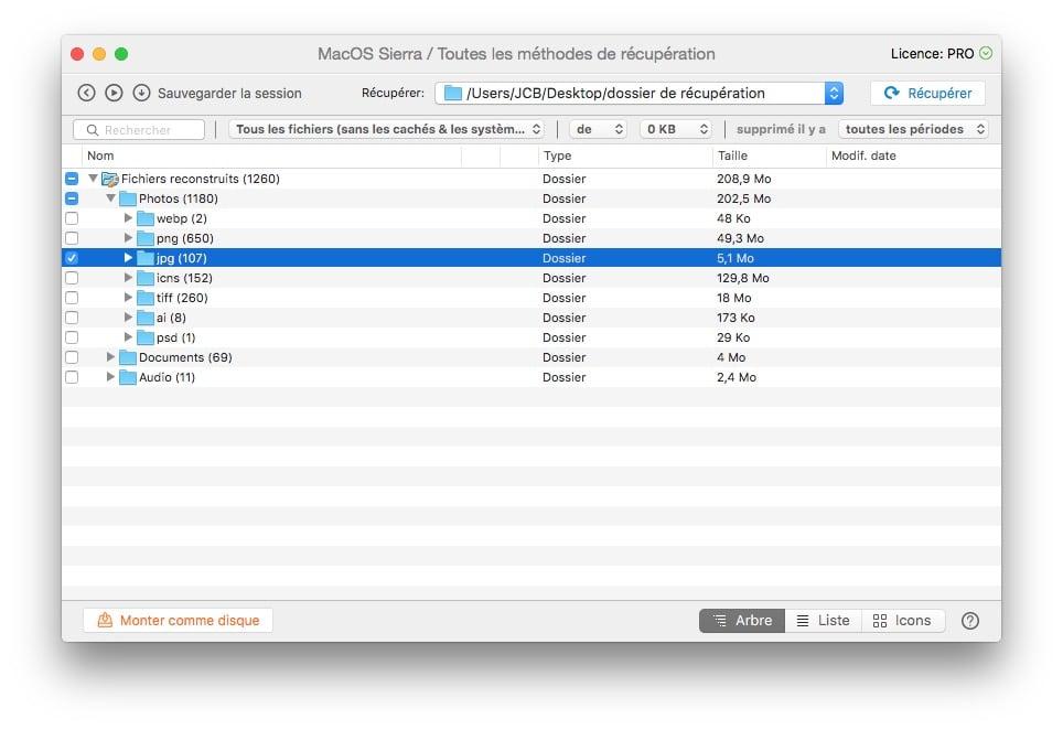 Recuperer des fichiers supprimes sous macOS Sierra dossier cible