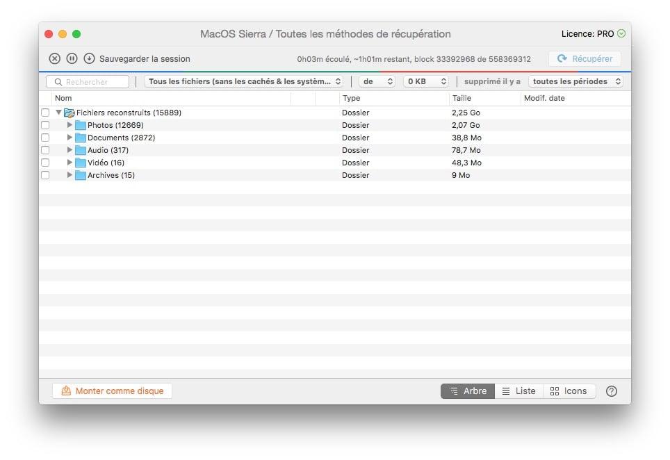 Recuperer des fichiers supprimes sous macOS Sierra photo documents video archives