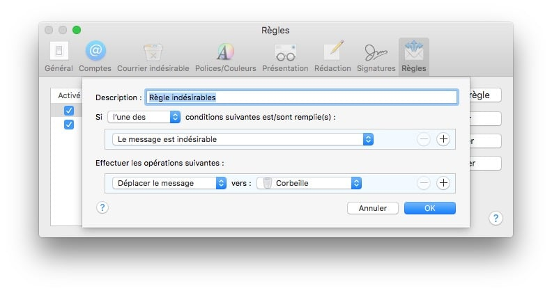 gerer les spams sur mac indesirables