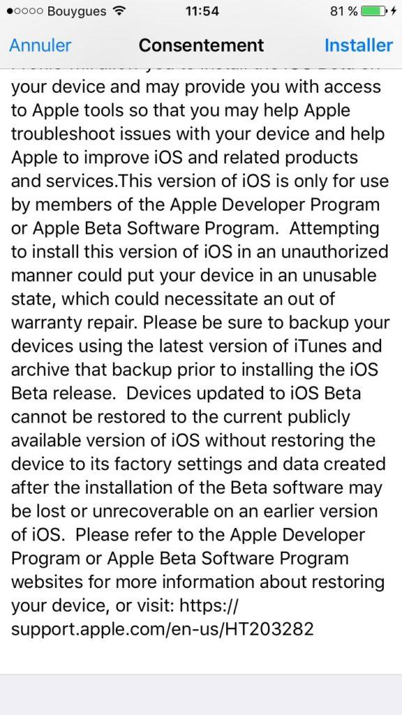 iOS 10 beta publique consentement