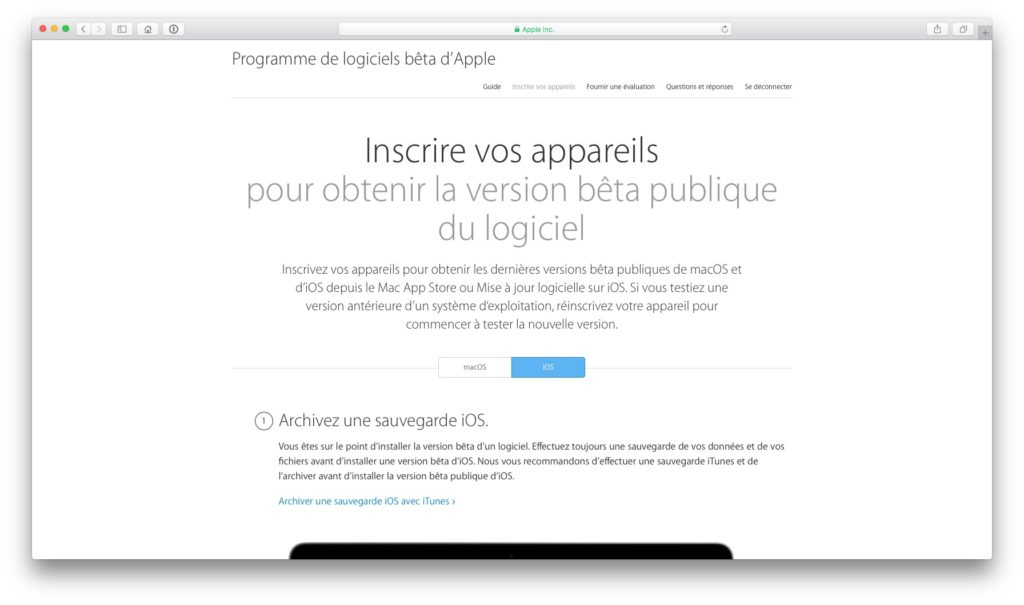 iOS 10 beta publique inscription