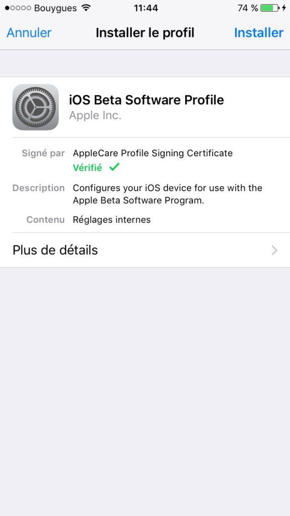 iOS 10 beta publique installer le profil