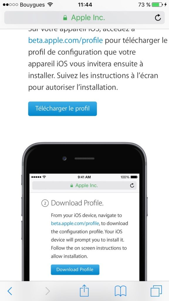 iOS 10 beta publique profil